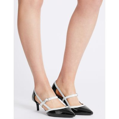 Wide Fit Kitten Heel Strap Court Shoes black/white