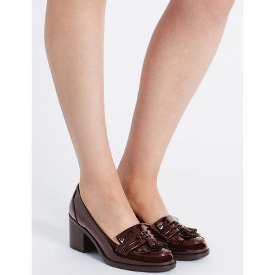Wide Fit Block Heel Fringe Loafers oxblood