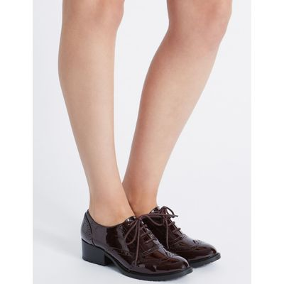 Wide Fit Block Heel Lace-up Brogue Shoes oxblood