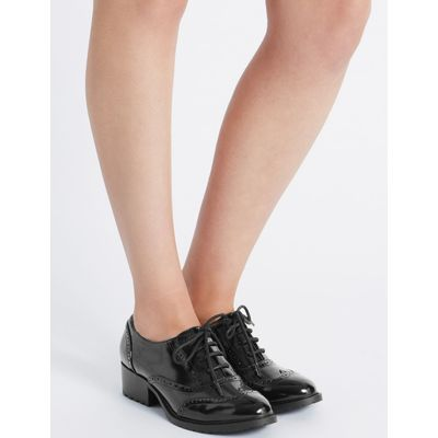 Wide Fit Block Heel Lace-up Brogue Shoes black