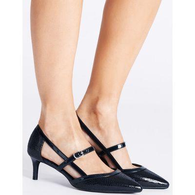 Wide Fit Kitten Heel Strap Court Shoes  navy mix