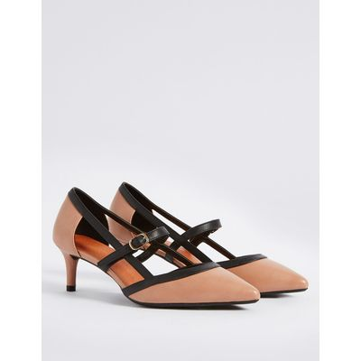 Wide Fit Kitten Heel Strap Court Shoes  nude mix