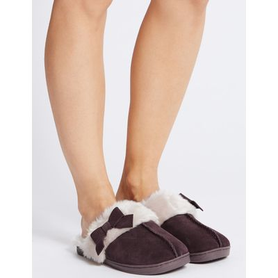 Leather Bow Mule Slippers berry