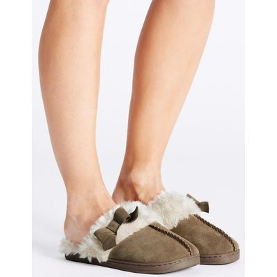 Leather Bow Mule Slippers tan
