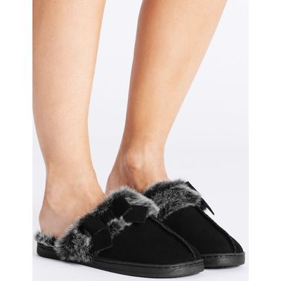 Leather Bow Mule Slippers black