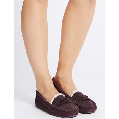 Leather Laser Cut Moccasin Slippers berry