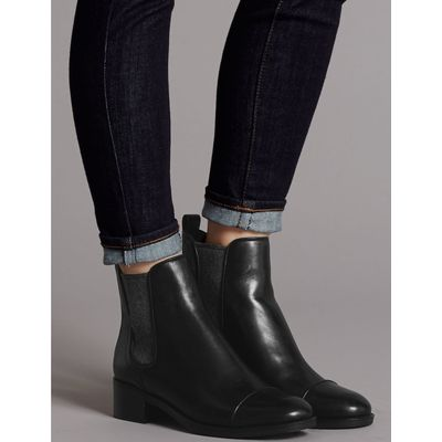 Leather Block Heel Chelsea Ankle Boots black