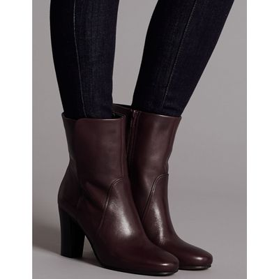 Leather Block Heel Ankle Boots oxblood