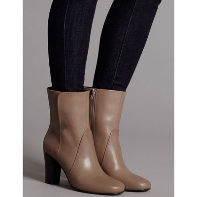 Leather Block Heel Ankle Boots caramel