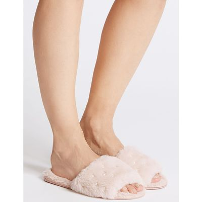 Pearl Detail Fur Mule Slippers pale blush