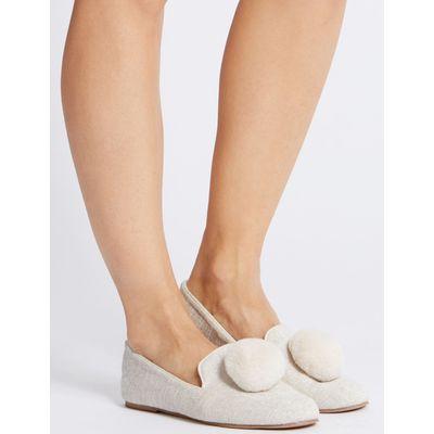 Pom Pom Ballerina Slippers cream