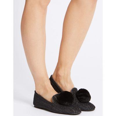 Pom Pom Ballerina Slippers black