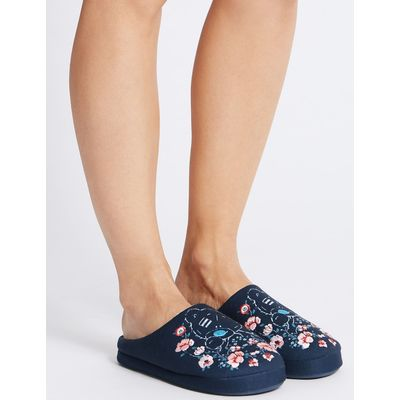 Tatty Teddy Embroidered Mule Slippers navy mix
