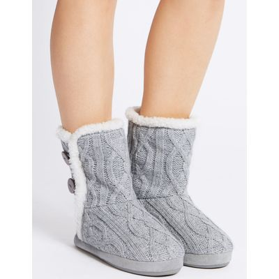 Cable Knit Slipper Boots grey