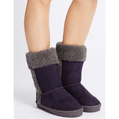 Fur Slipper Boots purple