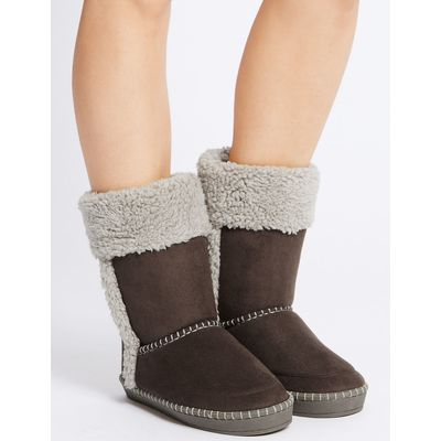 Fur Slipper Boots chocolate