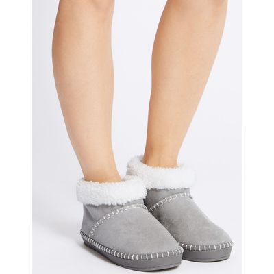 Fur Slipper Boots grey