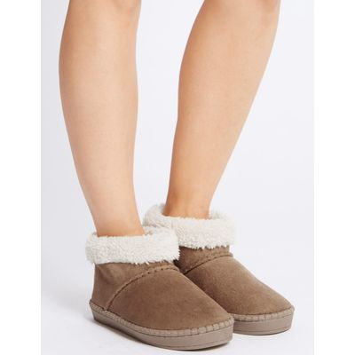 Fur Slipper Boots tan