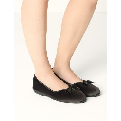 Pull-on V-Throat Bow Ballerina Slippers charcoal