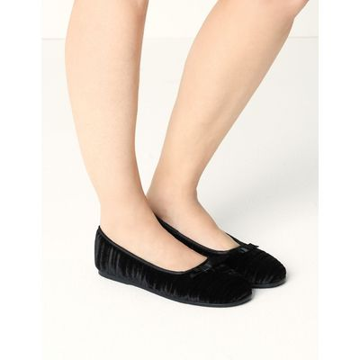 Striped & Embossed Ballerina Slippers black