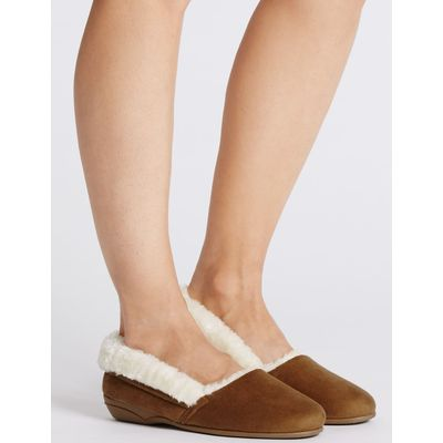 Fur Ballerina Slippers tan