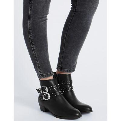 Block Heel Stud Strap Ankle Boots black