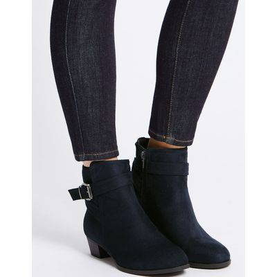 Wide Fit Block Heel Strap Ankle Boots navy