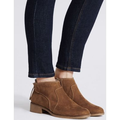 Block Heel Tie Back Ankle Boots  sand