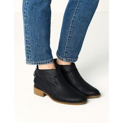 Block Heel Tie Back Ankle Boots black