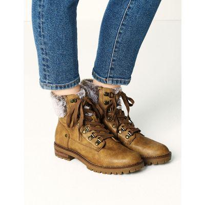Block Heel Faux Fur Hiker Ankle Boots tan
