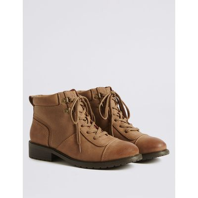 Block Heel Lace-up Toe Cap Ankle Boots tan