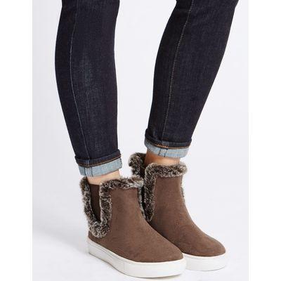 Fur Trim Ankle Boots brown