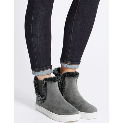 Fur Trim Ankle Boots grey