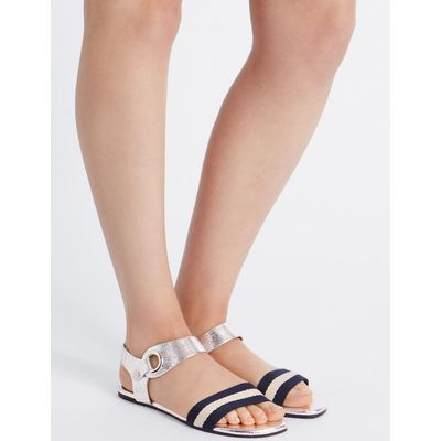 Ring Detail Sandals silver mix