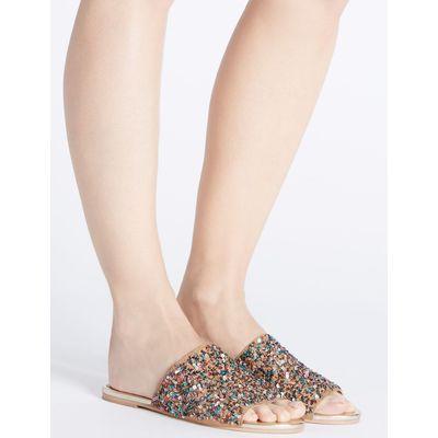 Embellished Mule Sandals neutral
