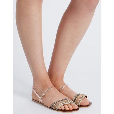 Leather Embellished Sandals gold