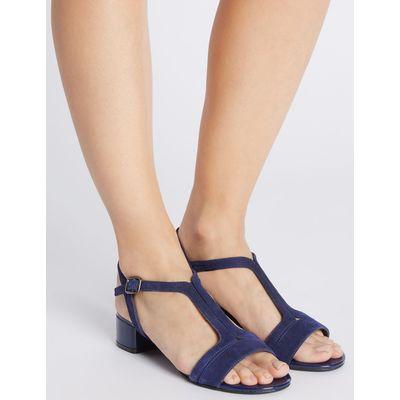 Suede Block Heel T-Bar Sandals navy