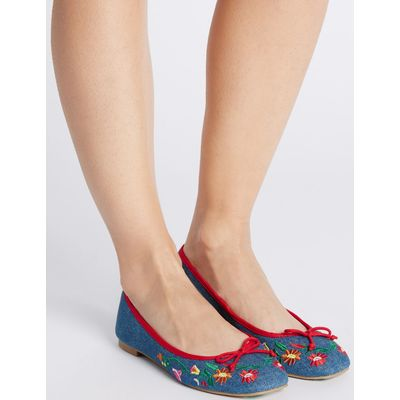 Block Heel Embroidered Pump Shoes denim mix