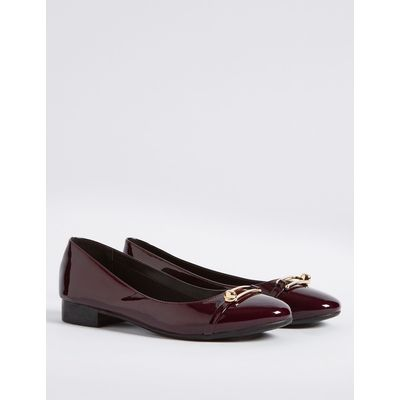 Trim Round Toe Ballerina Pumps berry