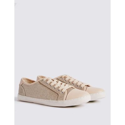 Lace-up Glitter Toe Cap Trainers gold mix