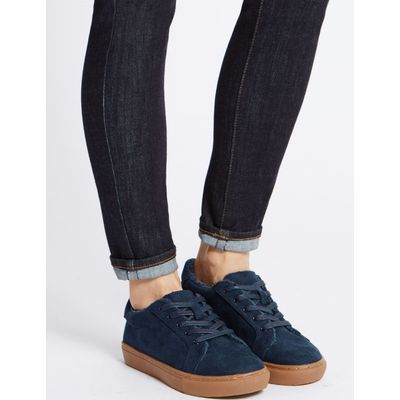 Fur Lace-up Trainers navy