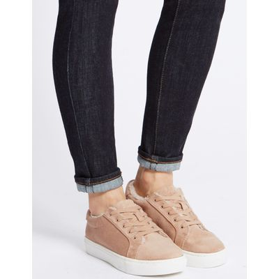 Fur Lace-up Trainers sand