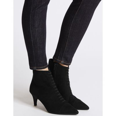 Lace Kitten Heel Ankle Boots black mix