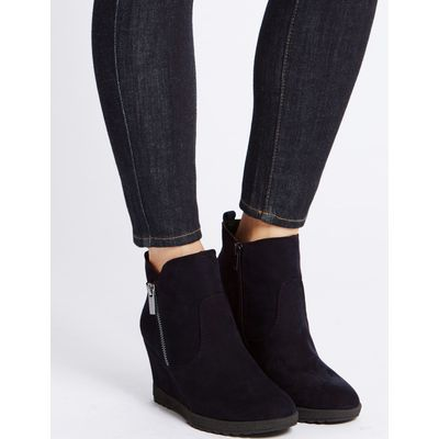 Wedge Heel Ankle Boots navy