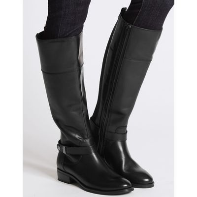 Leather Block Heel Rider Knee High Boots black