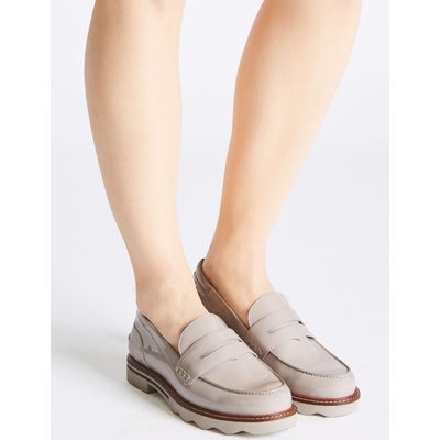Wide Fit Cleat Sole Loafers grey