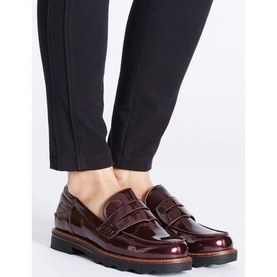 Wide Fit Cleat Sole Loafers oxblood