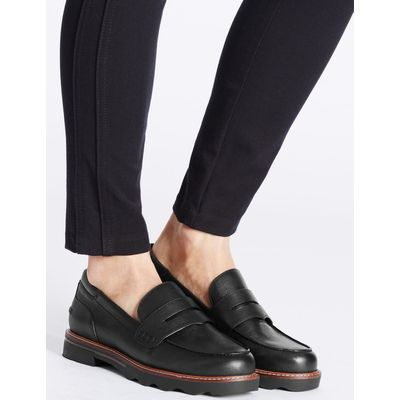 Wide Fit Cleat Sole Loafers black