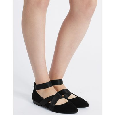 Wide Fit Suede Point Pump Shoes black