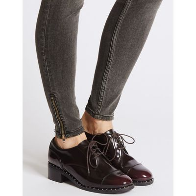 Wide Fit Leather Block Heel Brogue Shoes oxblood